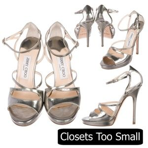 Jimmy Choo Shiny Silver Sandals Heels Size 35/5